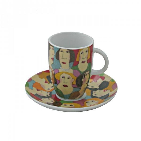 """Porzellan-Espressotasse hoch (75ml) mit Untertasse """"Small Talk"""""""