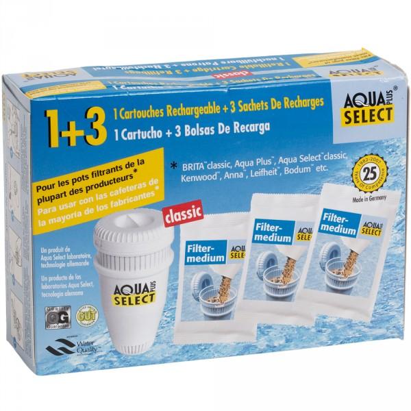 "Aqua Select 1 Mehrweg-Filterpatrone ""Classic"" + 3 Öko Refill Granulat-Nachfüllbeutel"